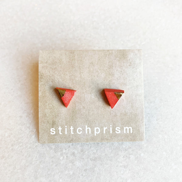 Red Studs - Triangle (Gold/Silver)