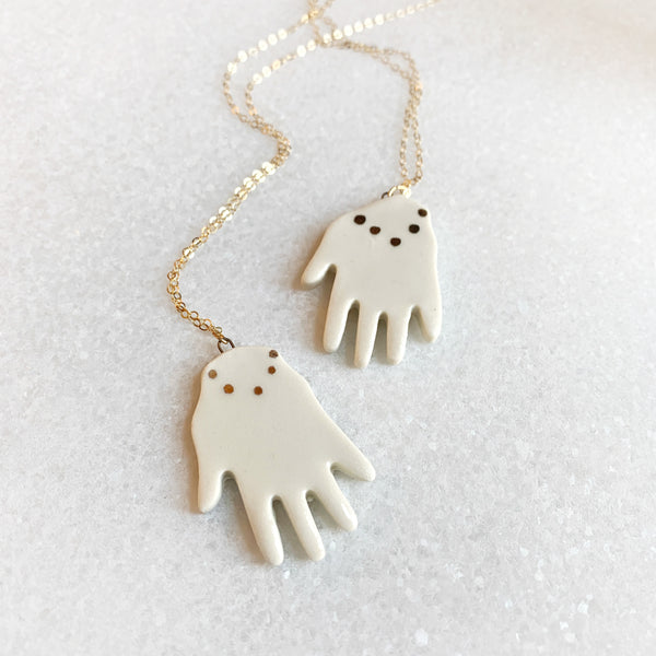 Hand Necklace - White