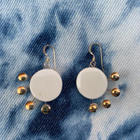 Sunburst Earrings Side-Facing - (White, Blue Speckle, Black Splatter, Shipwreck) Gold - StitchPrism