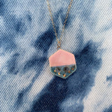 Small Shape Necklace - Rhubarb + Shipwreck - Teardrop, Circle, Hexagon, (Gold/Silver) - StitchPrism