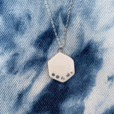 Small Shape Necklace - White - Teardrop, Circle, Hexagon (Gold/Silver) - StitchPrism