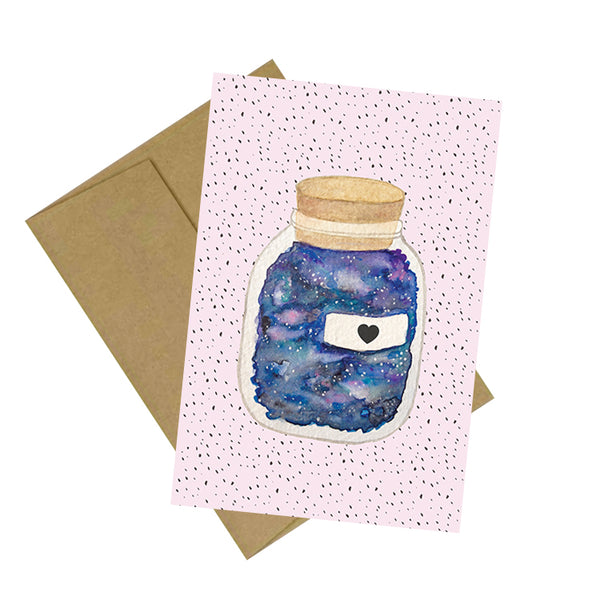 Galaxy Heart Bottle Card