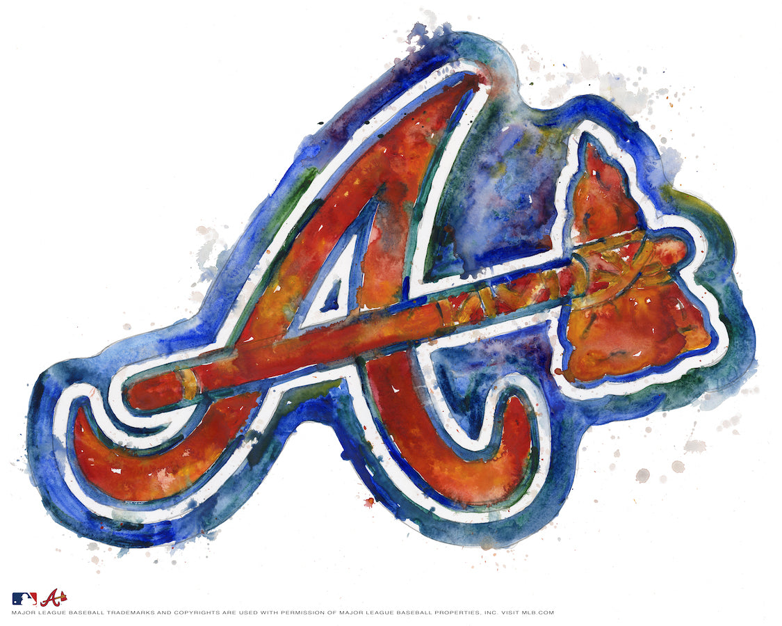 Atlanta Braves Alternate Watercolor Logo Print