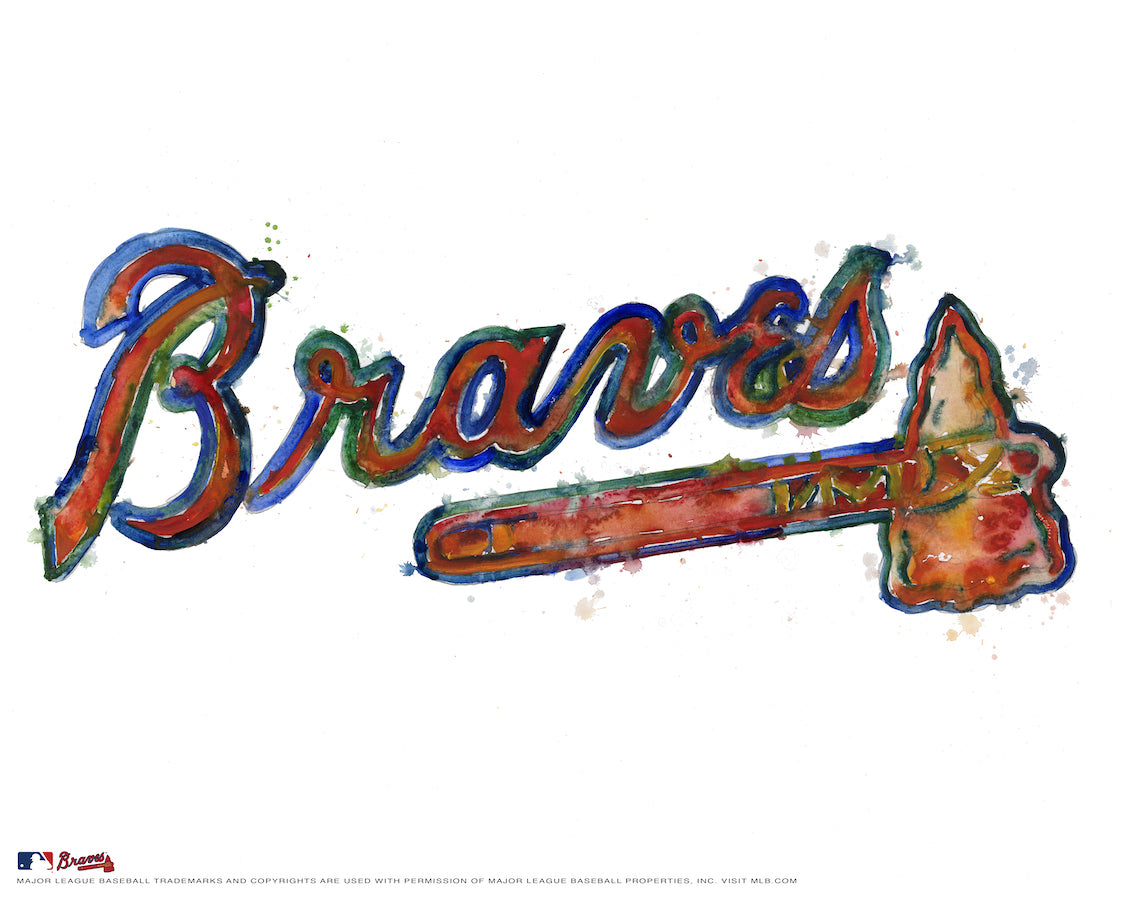 Atlanta Braves Watercolor Logo Print