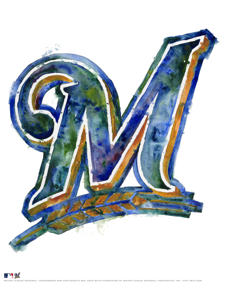 Milwaukee Brewers Watercolor Logo Print