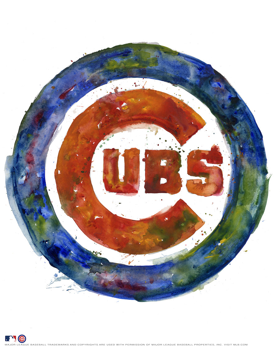 Chicago Cubs Watercolor Logo Print