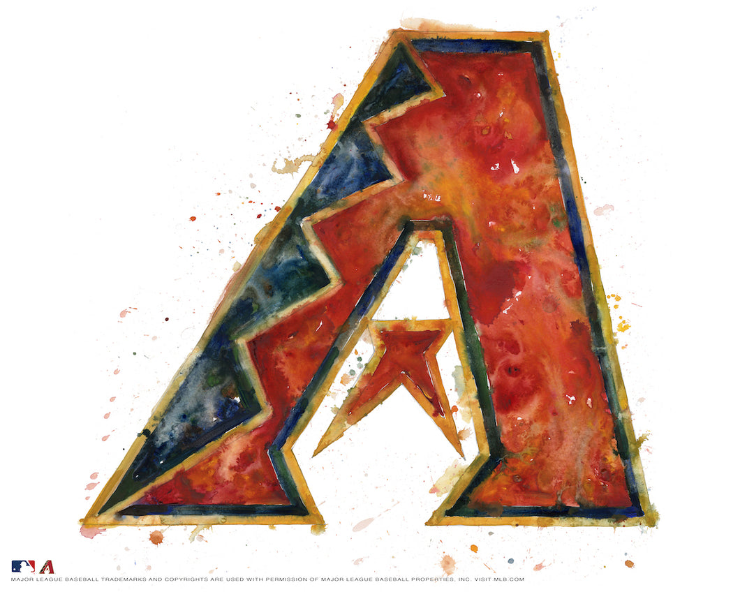 Arizona Diamondbacks Watercolor Logo Print