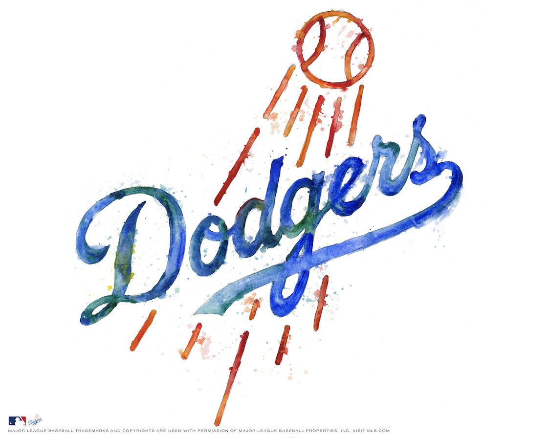 Los Angeles Dodgers Watercolor Logo Print