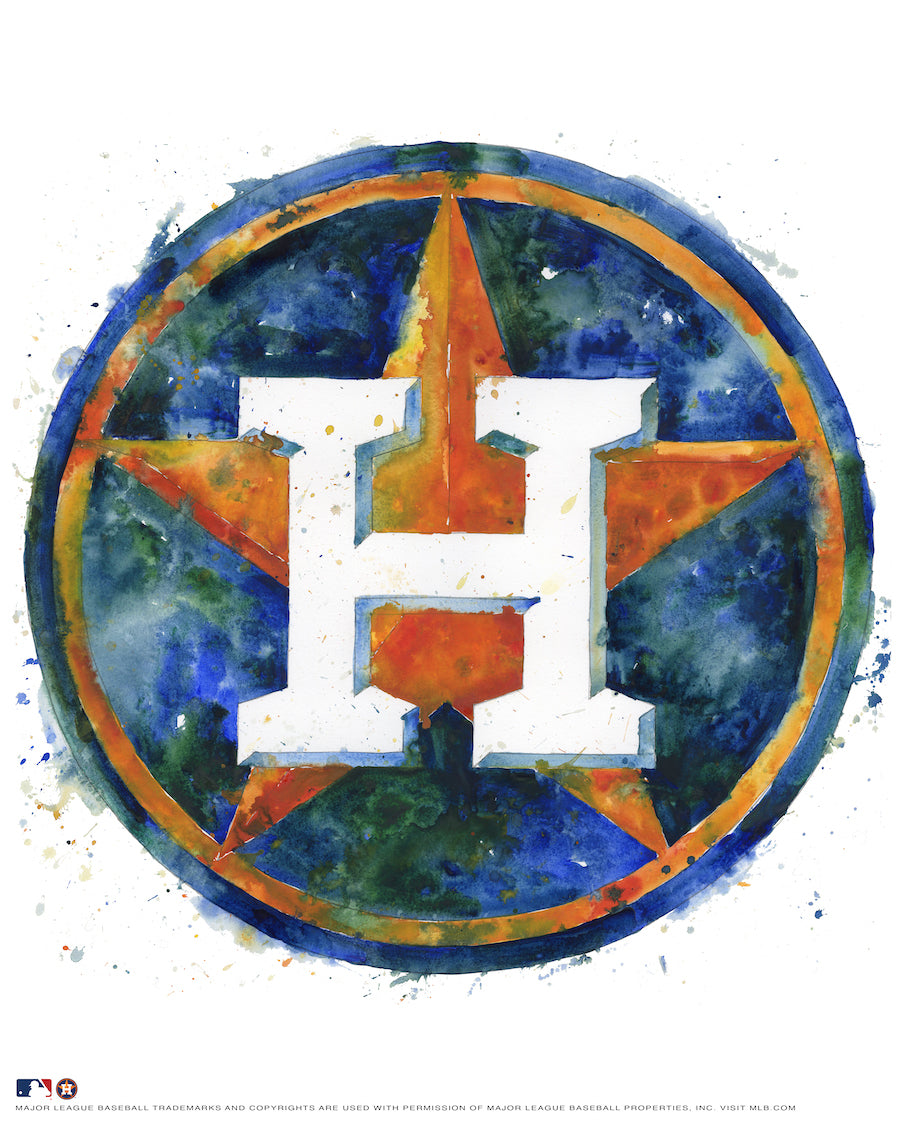 Houston Astros Watercolor Logo Print