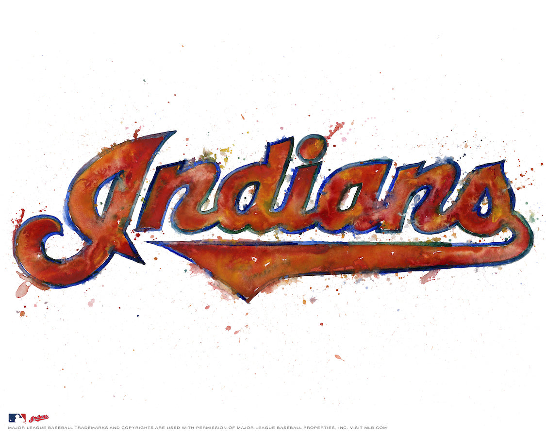 Cleveland Indians Watercolor Logo Print