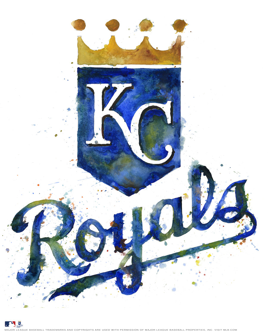 Kansas City Royals Watercolor Logo Print