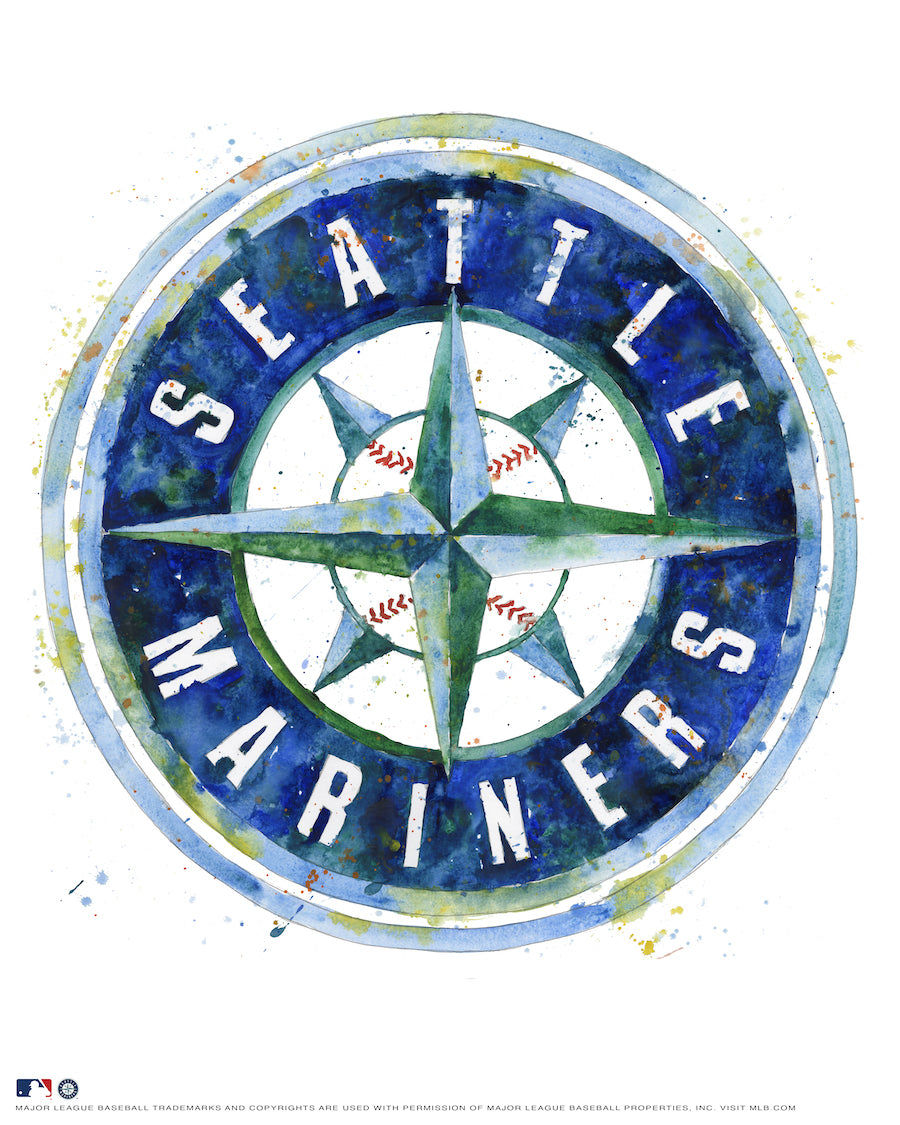 Seattle Mariners Watercolor Logo Print