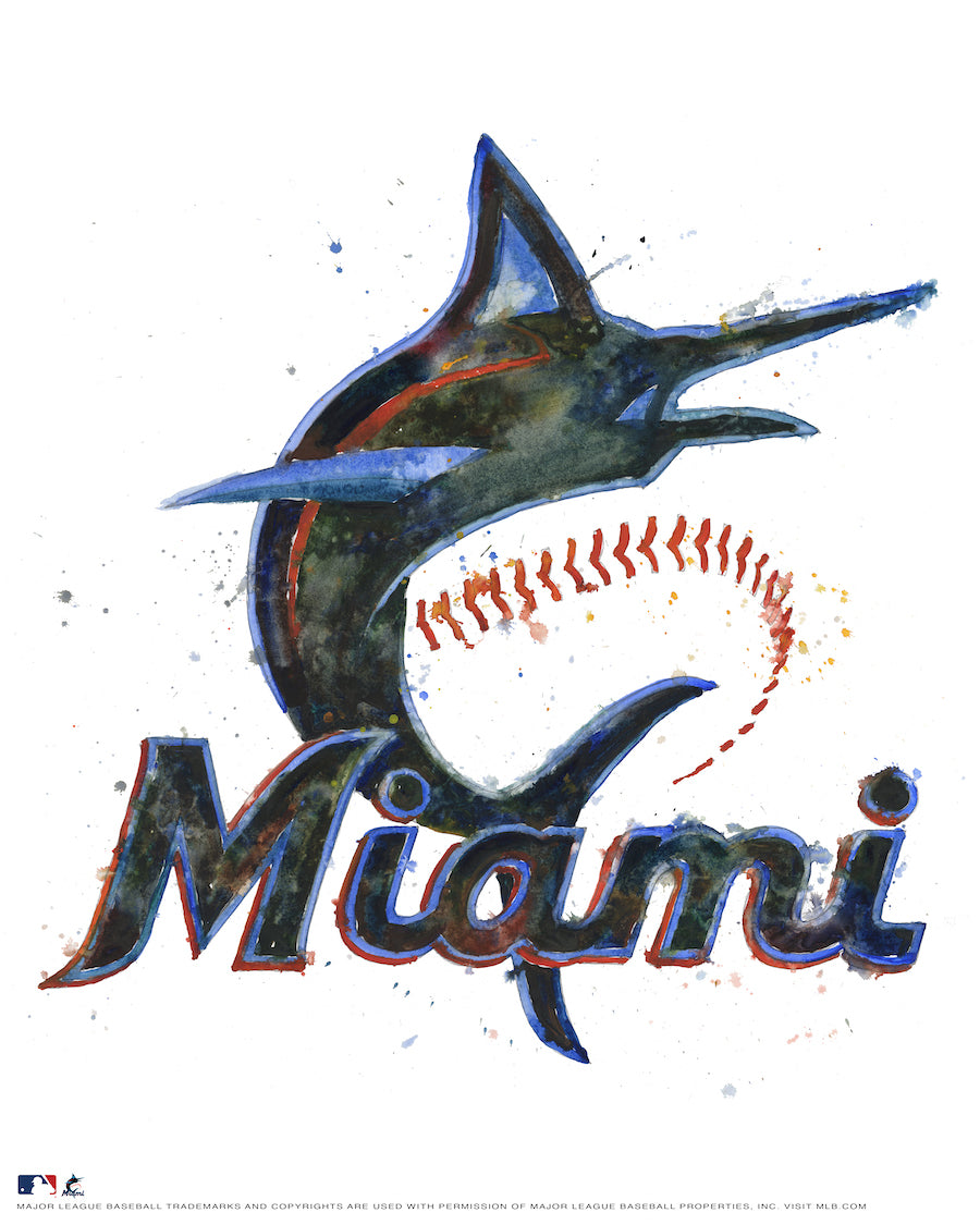 Miami Marlins Watercolor Logo Print