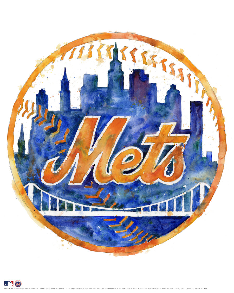 New York Mets Watercolor Logo Print