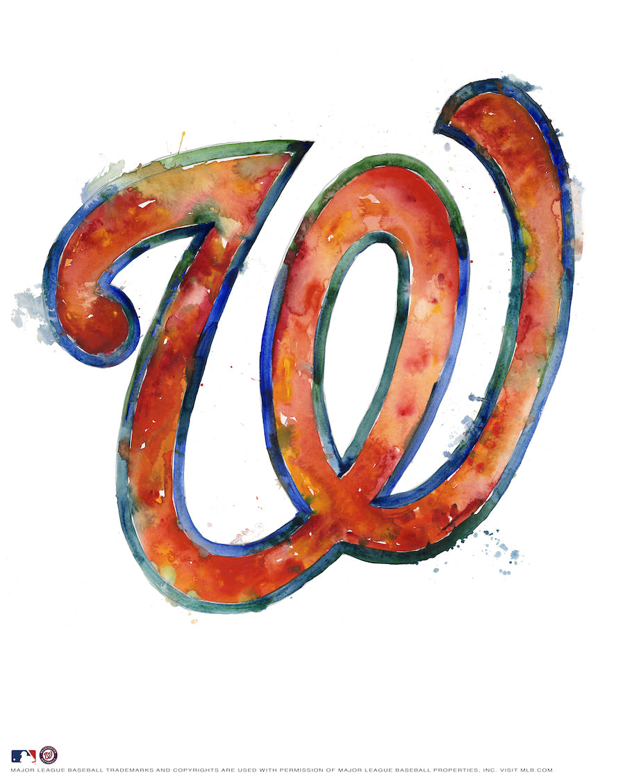 Washington Nationals Watercolor Logo Print