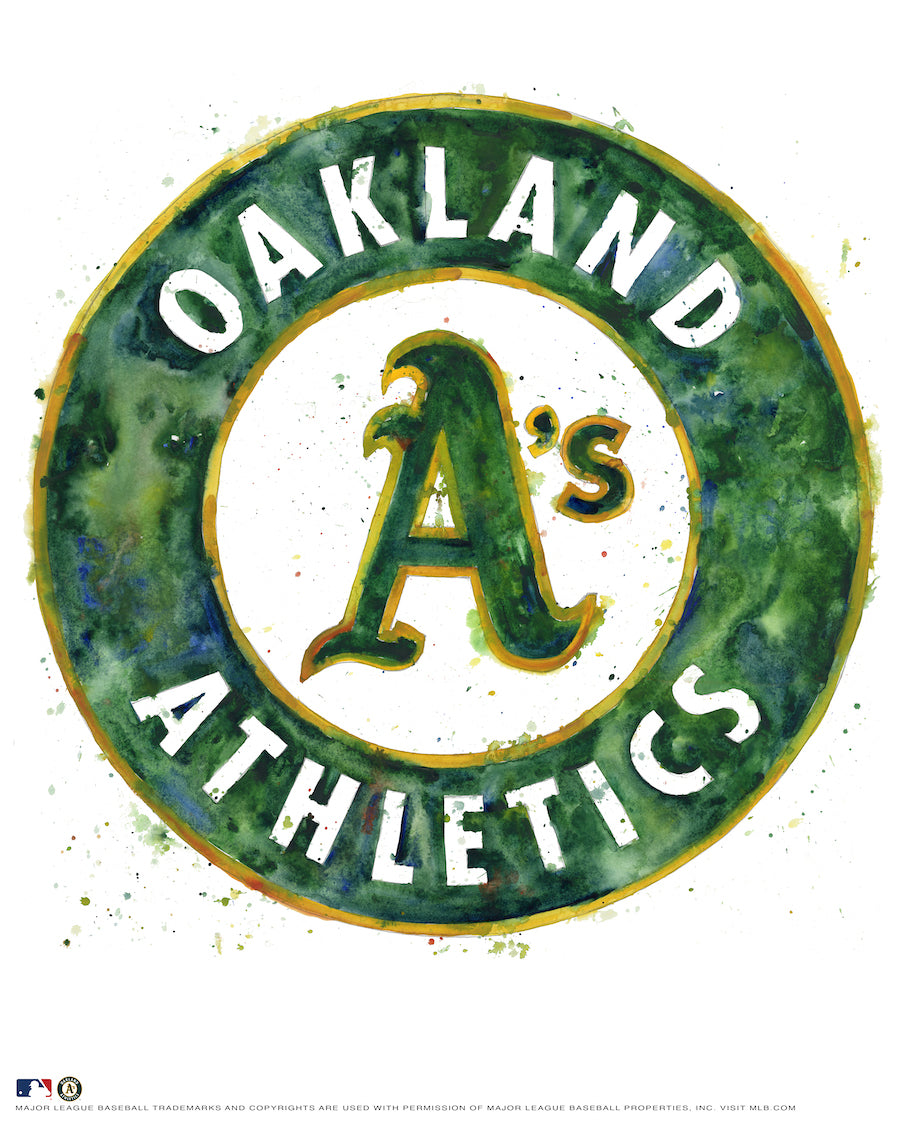 Oakland Athletics Watercolor Logo Print