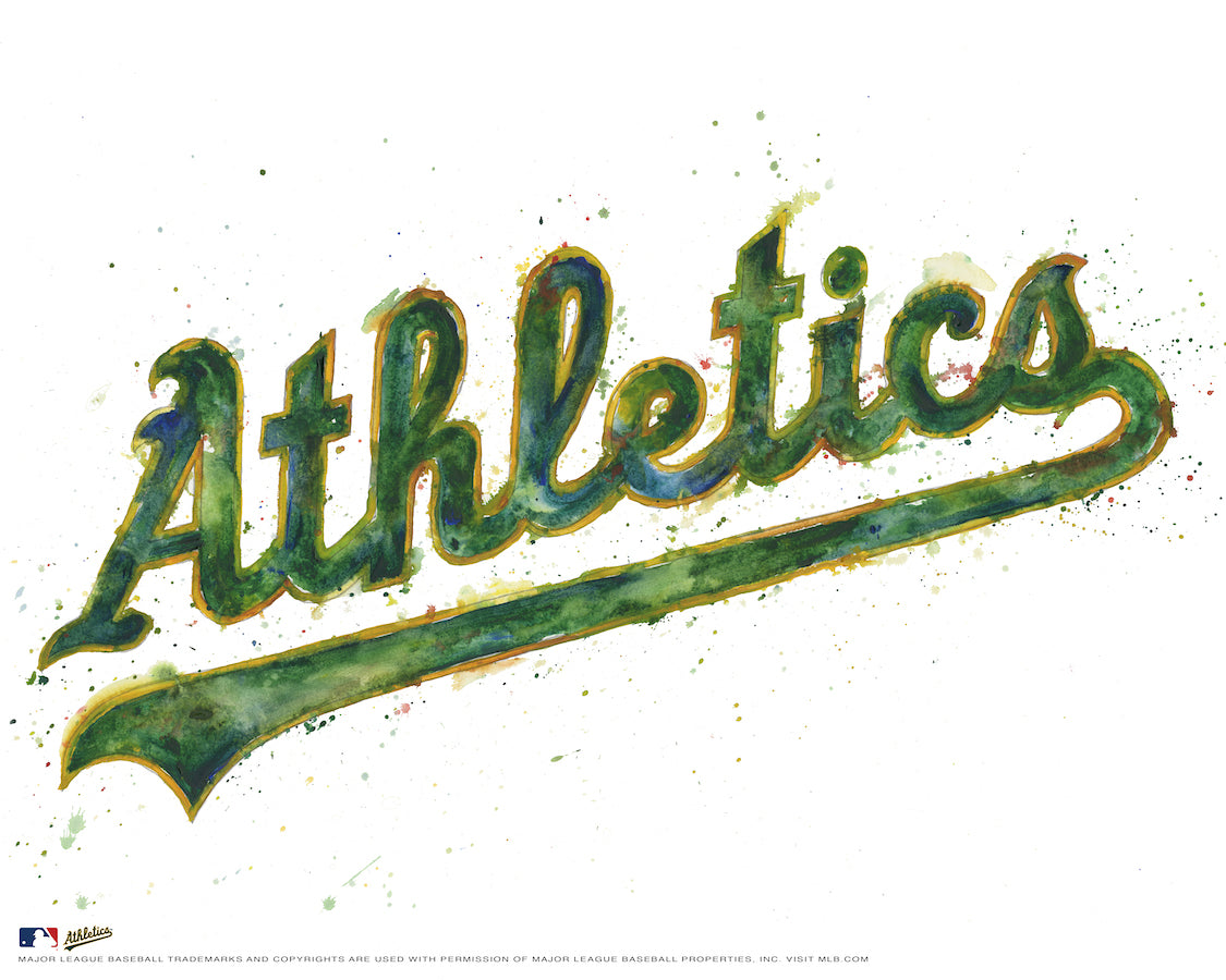 Oakland Athletics Alternate Watercolor Logo Print