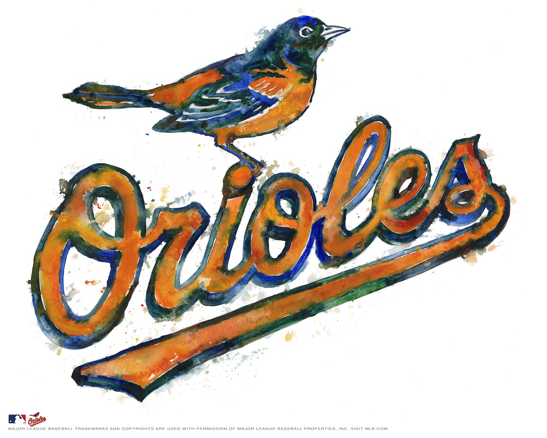 Baltimore Orioles Watercolor Logo Print
