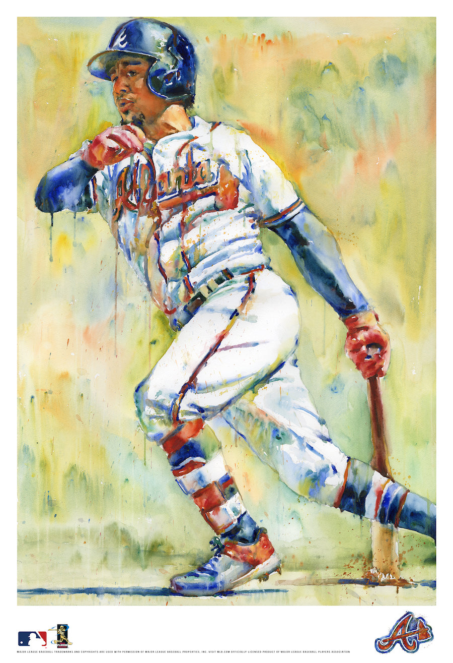 Ozzie Albies Watercolor Fine Art Print