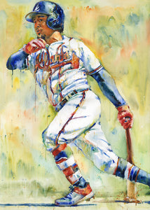 Ozzie Albies - Original Topps Watercolor painting