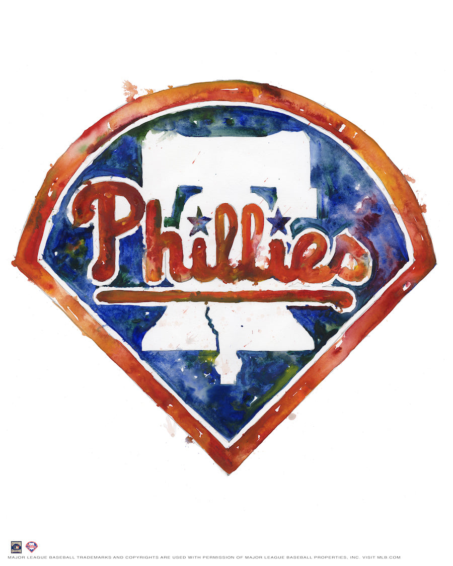 Philadelphia Phillies Watercolor Logo Print