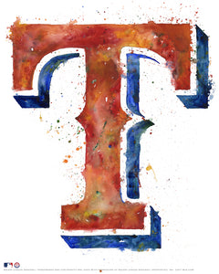 Texas Rangers Watercolor Logo Print