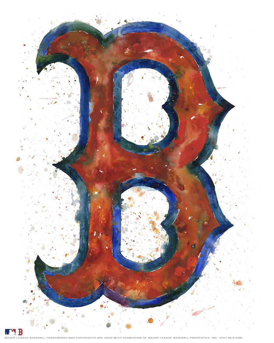 Boston Red Sox Alternate Watercolor Logo Print