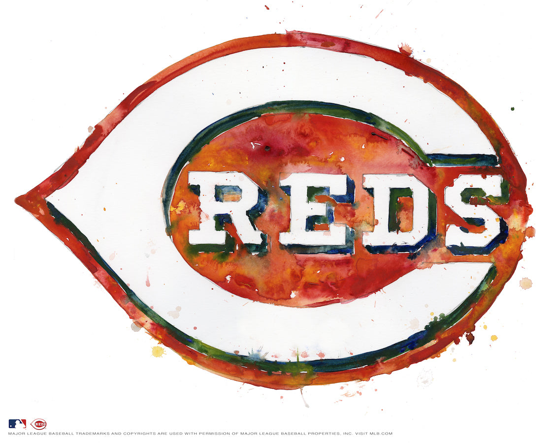 Cincinnati Reds Watercolor Logo Print