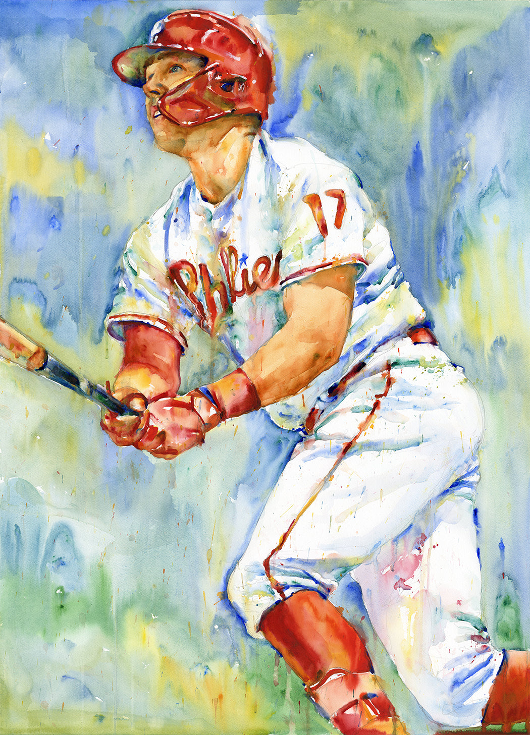 Rhys Hoskins - Original Topps Watercolor painting