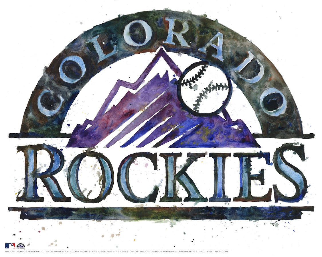Colorado Rockies Watercolor Logo Print