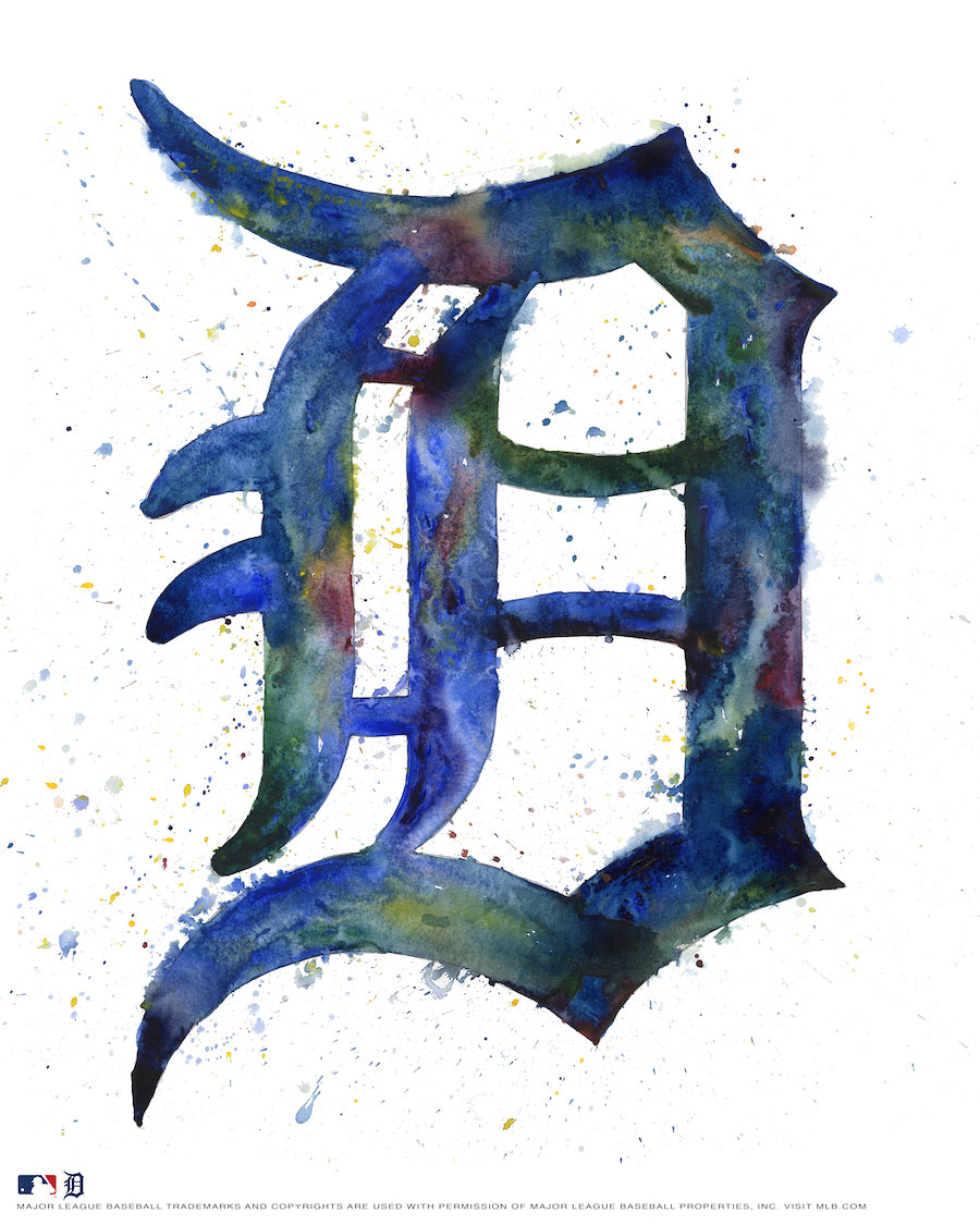 Detroit Tigers Watercolor Logo Print
