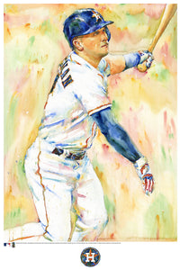 Alex Bregman Watercolor Fine Art Print