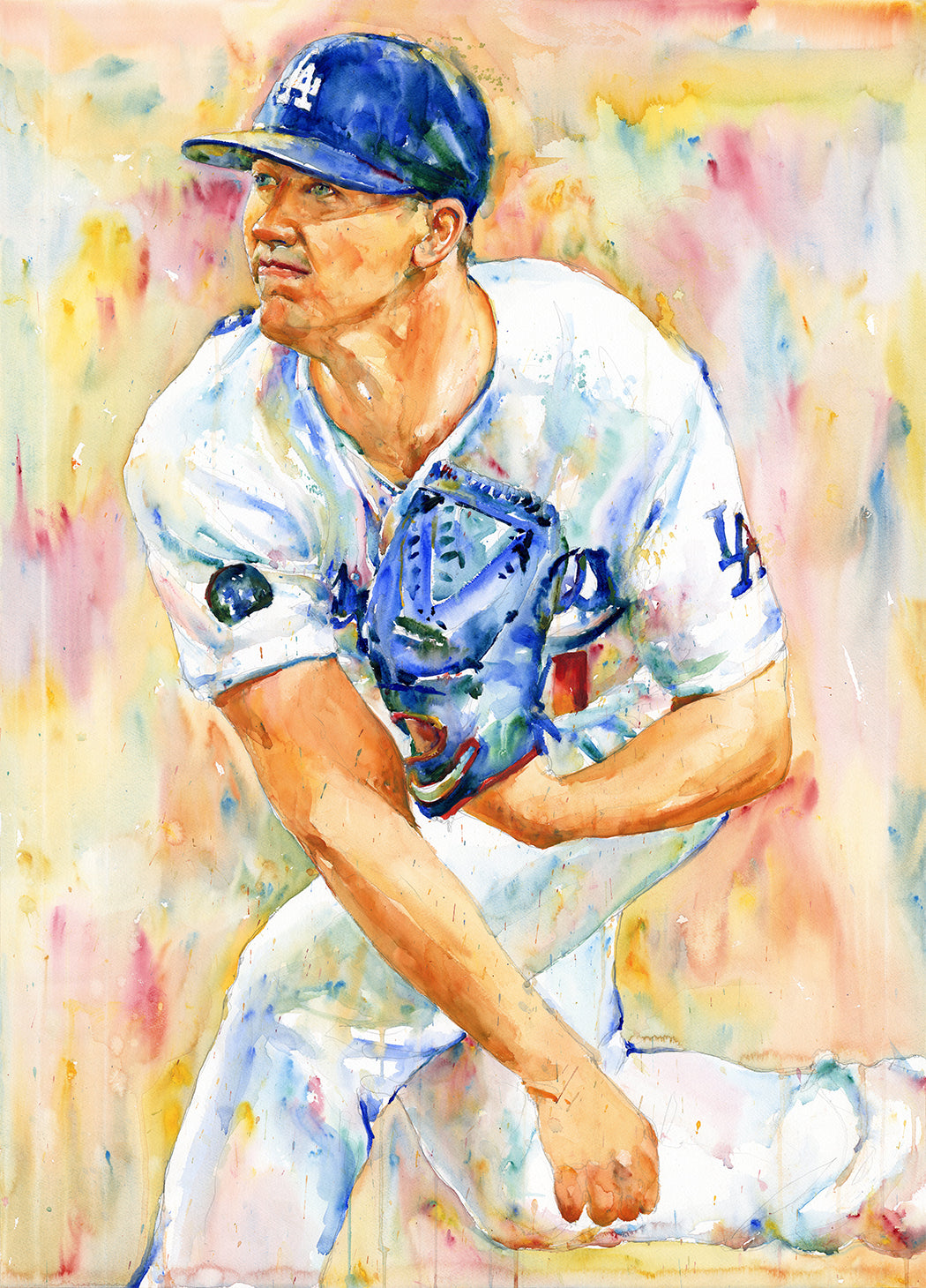 Walker Buehler - Original Topps Watercolor painting