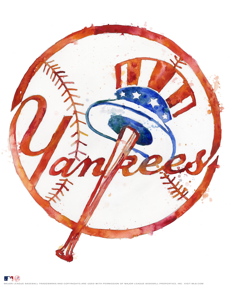 New York Yankees Watercolor Logo Print