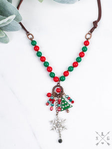 Snowflake and Christmas Tree Pendant Necklace