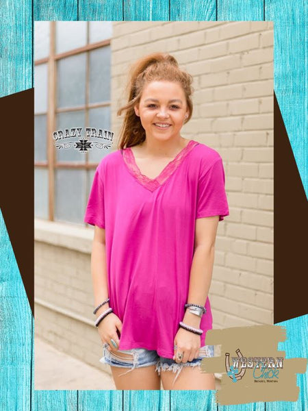 Lace V-Neck Tee - Magenta Top Crazy Train