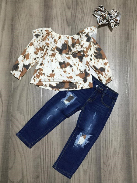 Cowhide And Ruffles Outfit kids Sparkledots