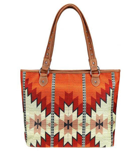 Montezuma Aztec Canvas Tote Bag Handbags YK Trading