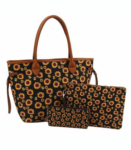 3 in 1 Sunflower Western Tote Set
