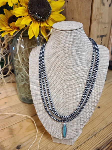 Navajo Pearl Necklace w/ Long Turquoise Pendant Isac Trading