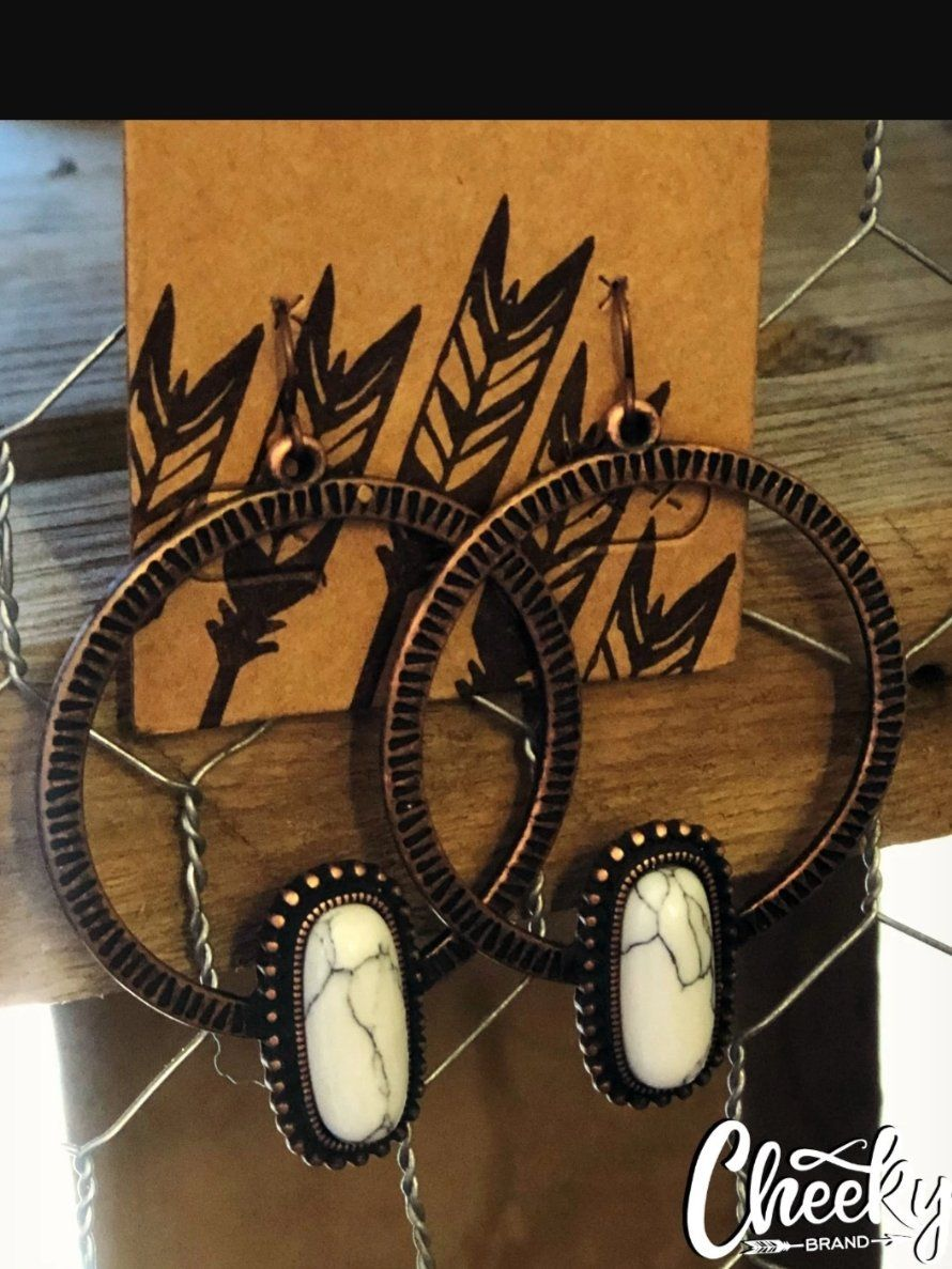 The Cheyenne Copper Hoop Earring with White Stone