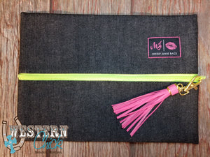 Makeup Junkie® Slate Denim with Lime Zipper Bag Makeup Junkie