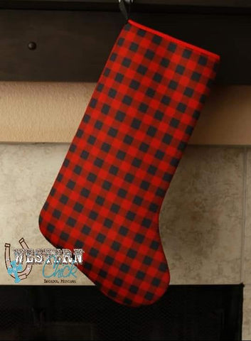 Christmas Stocking - Buffalo Plaid Gift Glitter and Glam Boutique