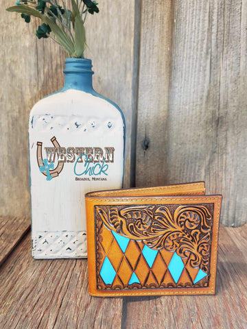 The Dalley Bifold with Turquoise Cutouts