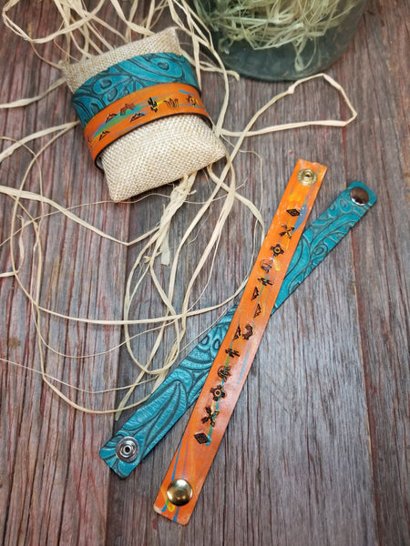 Leather Embossed Snap Bracelet - Turquoise