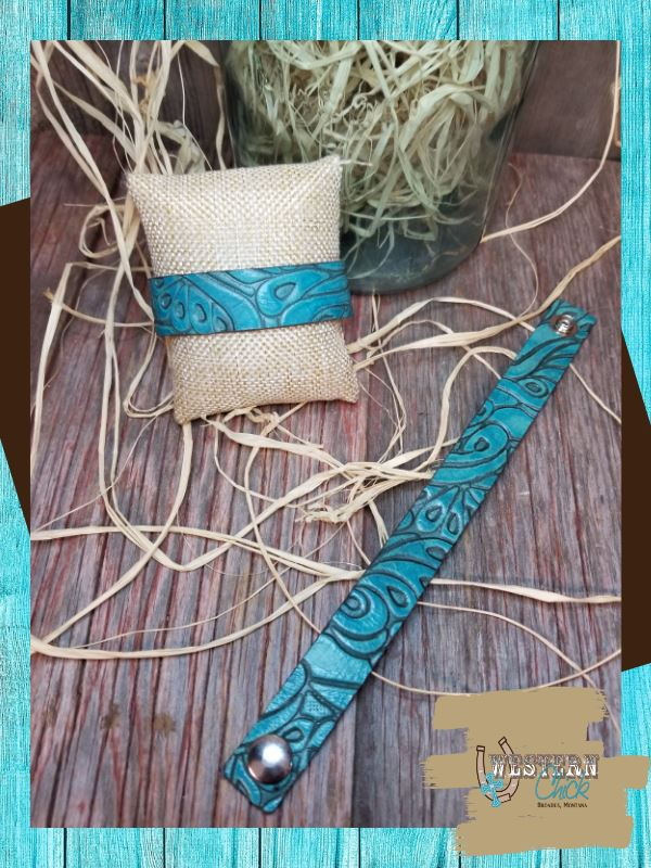 Leather Embossed Snap Bracelet - Turquoise Jewelry Country Rogue