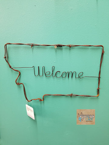 Montana Welcome Barbwire Wall Hanging Montana Gifts Western Chick Boutique