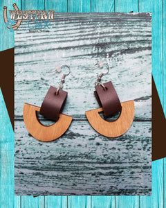 Leather and Wooden Drop Earrings Jewelry Market Crate