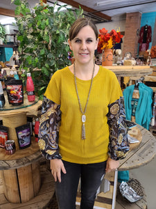 Mustard and Floral Knit Top Top Southern Grace