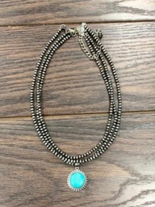 Navajo Pearl Necklace w/ Natural Turquoise Pendant Isac Trading